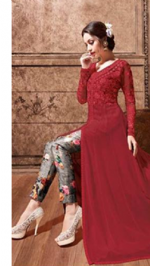Dashing Maroon  Floral Lehenga Trouser Suit